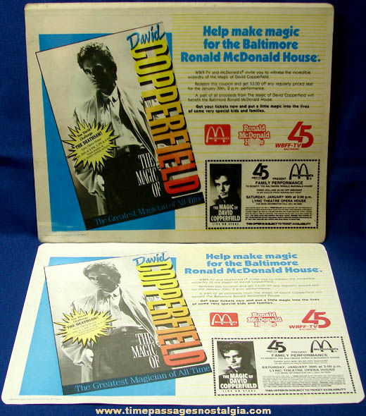 Colorful ©1988 McDonald's Restaurant David Copperfield Advertising Place Mat Art Color Separations & Proof Sheet