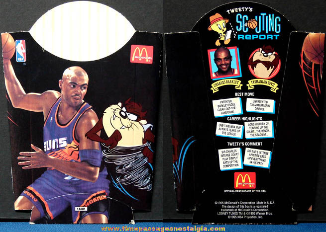 (2) ©1995 McDonald's NBA Basketball Player & Looney Tunes Character Advertising Items