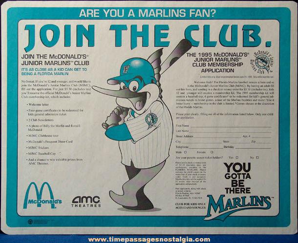 ©1995 McDonald's Florida Marlins Baseball Advertising Place Mat Press Proof & Test Sheet