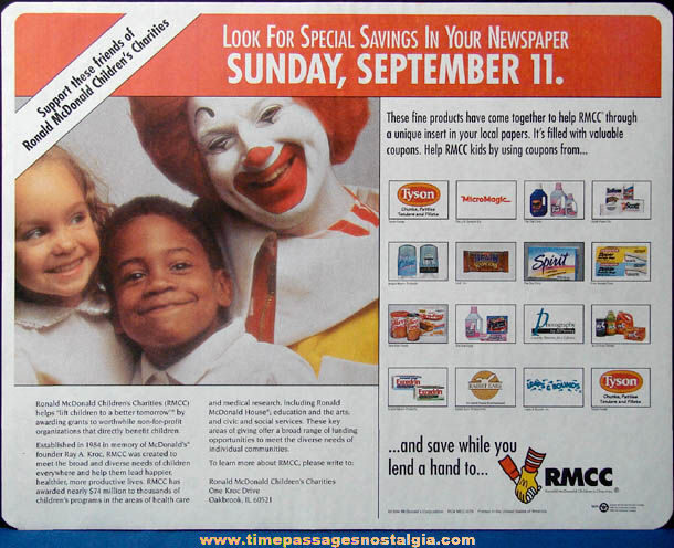 (5) Colorful 1990s McDonald's Restaurant Advertising Place Mat Press Proofs