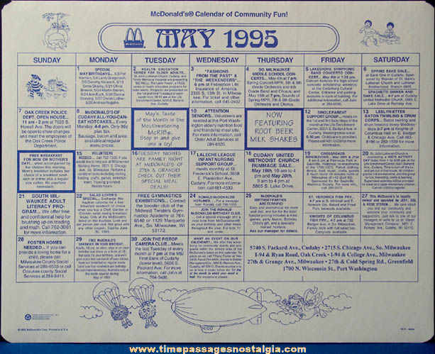 (5) Colorful Old McDonald's Restaurant Advertising Place Mat Press Proofs