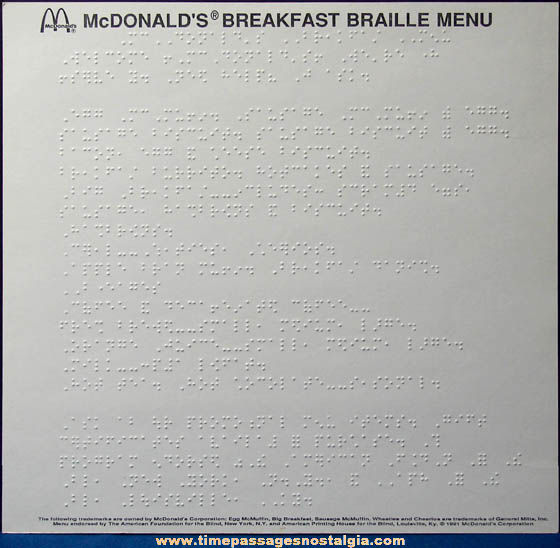 (2) ©1991 McDonald's Restaurant Advertising Brail Menus