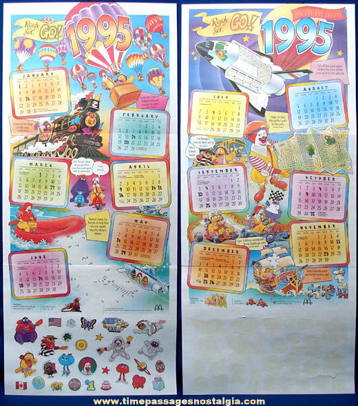 Colorful ©1995 McDonald's Restaurant Advertising Calendar with Unused Stickers