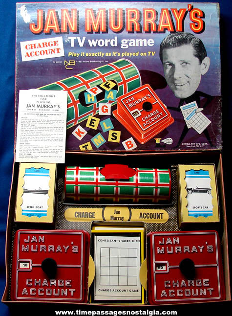 Colorful Boxed ©1961 Jan Murray's Charge Account TV Word Game