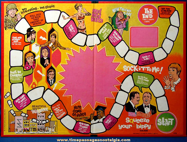 Colorful Boxed ©1968 Rowan & Martin's Laugh In Squeeze Your Bippy Board Game