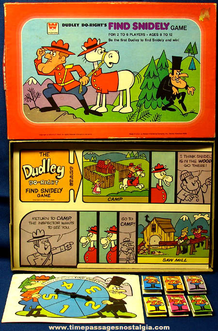 Colorful Boxed �1976 Dudley Do-Right Find Snidely Board Game