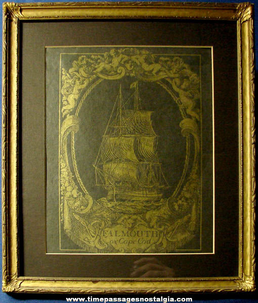 Old Falmouth On Cape Cod Massachusetts Gold Sailing Ship Print