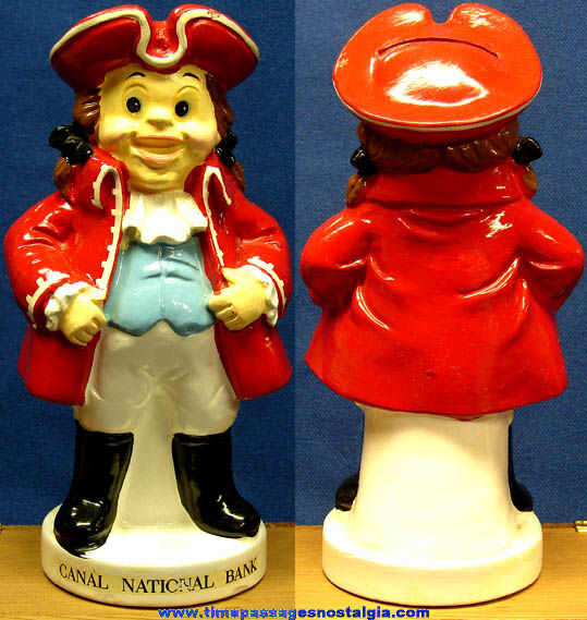 Colorful Old Ceramic Canal National Bank Advertising Premium Figurine Bank