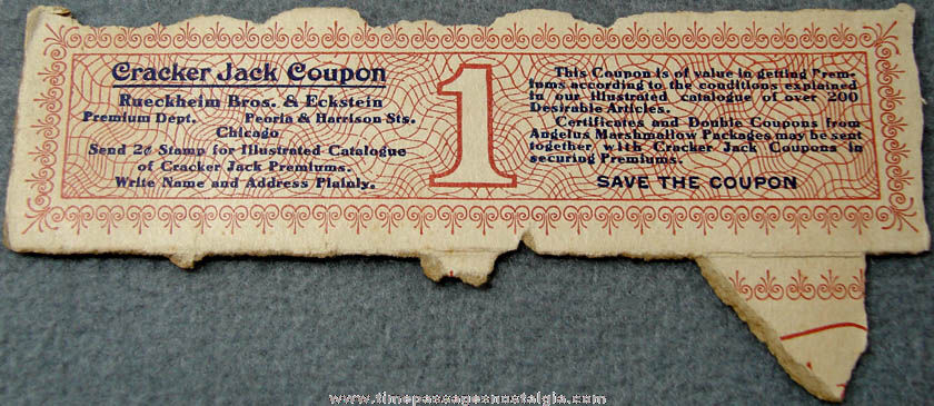 Early 1900s Cracker Jack Box Advertising Premium Coupon
