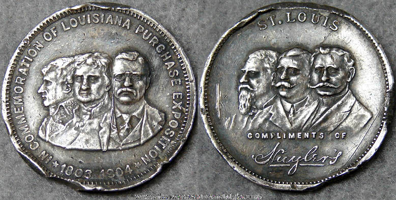 1904 Louisiana Purchase Exposition Commemorative Huyler's Candy Advertising Premium Coin