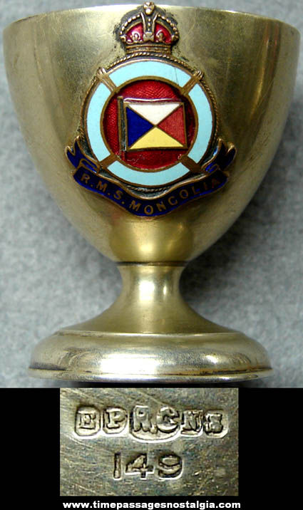 Small Old R.M.S. Mongolia Enameled Silver Advertising Souvenir Goblet Cup