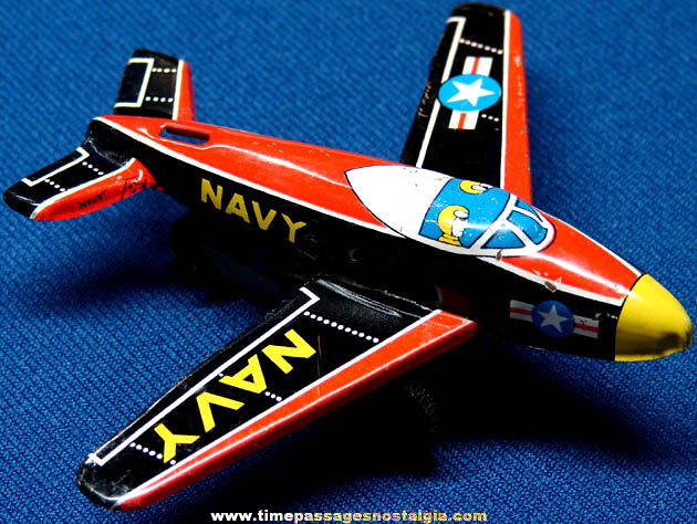 Old Lithographed Tin Toy Navy Jet Friction Airplane