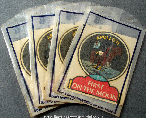 (4) Unused 1969 Apollo 11 Moon Space Mission Advertising Souvenir Insignia Decals