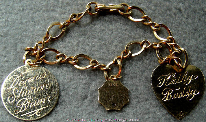 Old New Jersey Bell Telephone Gold Jewelry Bracelet With Charms