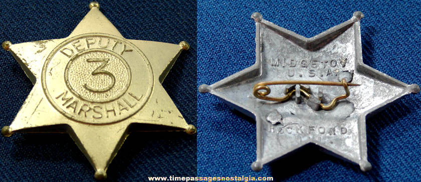 Old Metal Midgetoy Deputy Marshall Toy Star Badge