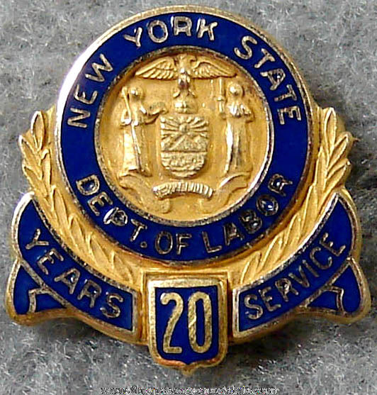 Old Enameled New York State Department of Labor 20 Year Employee Service Pin