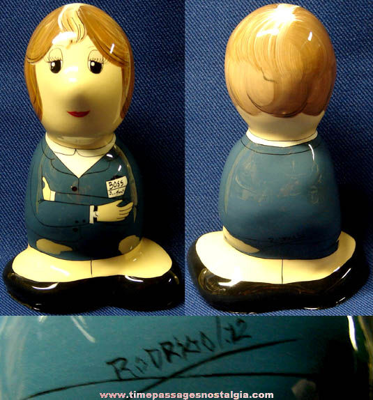 1972 Artist Signed and Painted Woman Boss Figurine