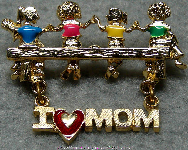 Enameled Mother Jewelry Pin with Children & Hanging Charm