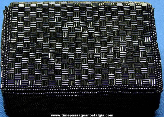Unused Ladies Black Beadwork Purse With Beaded Tassel