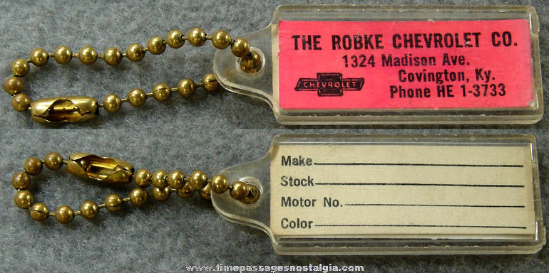 Old Unused Kentucky Chevrolet Auto Dealer Advertising Premium Key Chain
