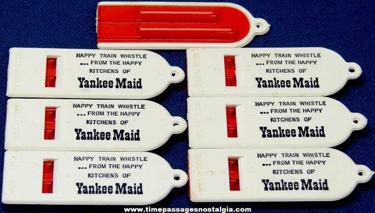 (7) Old Unused Yankee Maid Restaurant Advertising Premium Toy Whistles