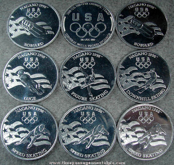 (9) 1998 General Mills Cereal Prize United States Winter Olympic Sports Token Coins