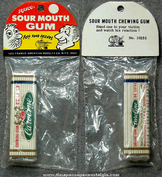 Unopened 1973 Franco American Novelty Prank Joke Sour Mouth Gum Package