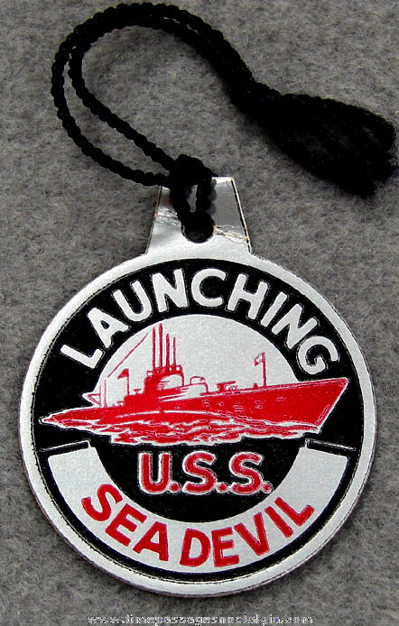 1944 U.S.S. Sea Devil SS-400 Submarine Launching Souvenir Tag