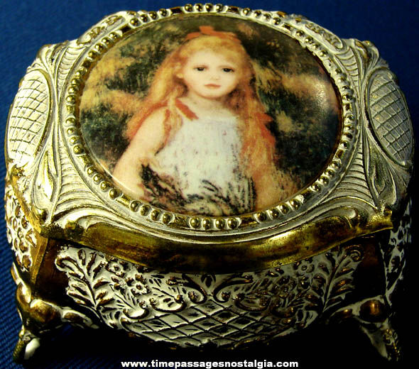 Small Old Metal Jewelry or Trinket Box with a Young Girl