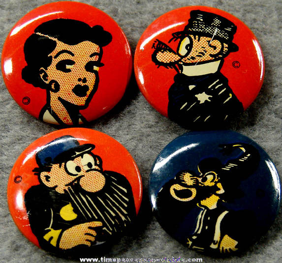 (4) Colorful Old Comic Strip Character Pin Back Buttons