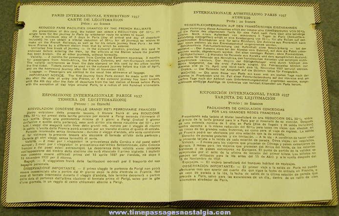 1937 Exposition Internationale Paris Souvenir Passport Booklet