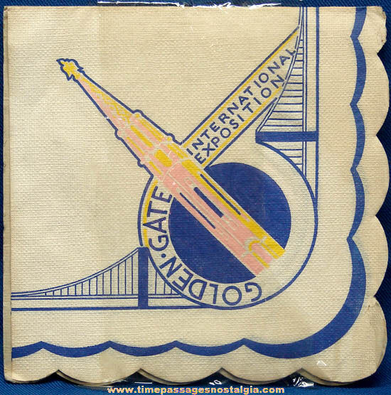 Unused 1939 Golden Gate International Exposition Souvenir Paper Napkin
