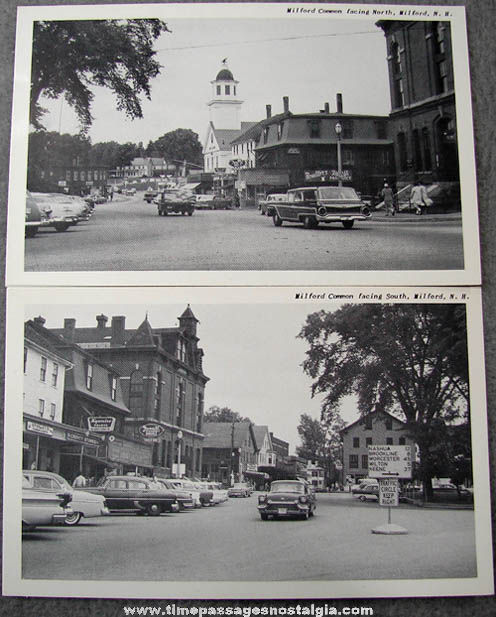 (2) Different 1950s Downtown Milford New Hampshire Picture Post Cards