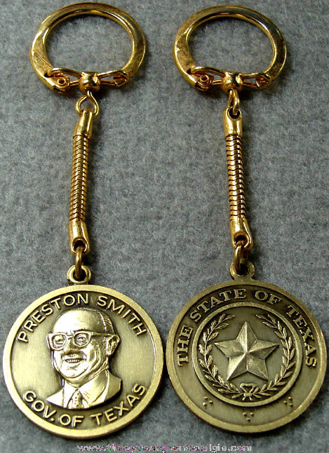 (2) Old Texas Governor Preston Smith Advertising Key Chains