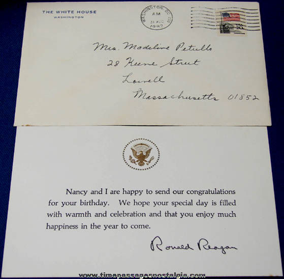 ronald  nancy reagan white house birthday card with envelope, Greeting card