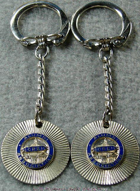 (2) Old Unused Enameled C.R.E.I. Advertising Key Chains