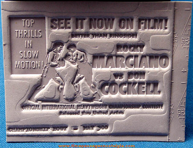 Old Unused Rocky Marciano vs. Don Cockell Boxing Ad Mat Mold