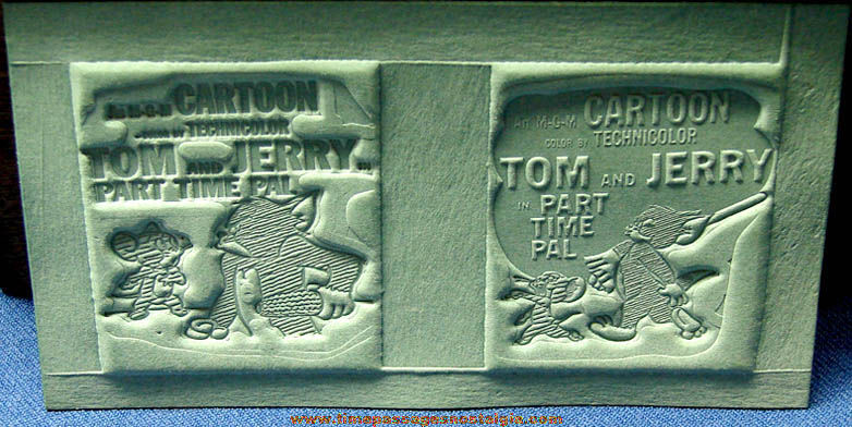 (2) Unused 1947 Tom & Jerry Part Time Pal Cartoon Ad Mat Molds