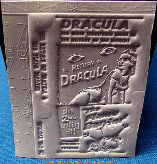 Unused 1958 Return of Dracula & The Flame Barrier Movie Ad Mat Mold