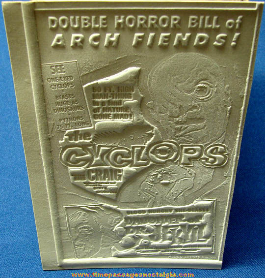 Unused 1957 The Cyclops & Daughter of Dr. Jekyll Movie Ad Mat Mold