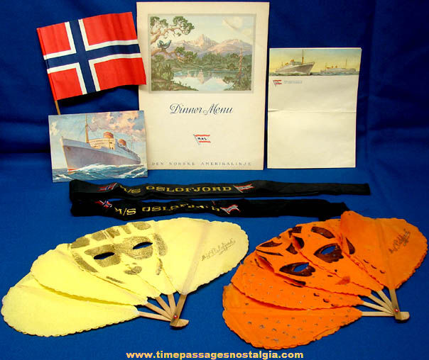 (8) 1952 M.S. Oslofjord Ocean Liner Cruise Ship Advertising Souvenir Items