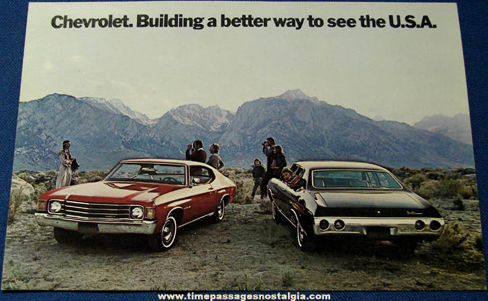 Large Unused 1972 Chevrolet Chevelle Malibu Dealership Advertising Post Card