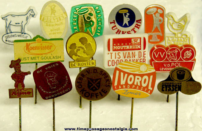(15) Different Old Netherlands Food or Restaurant Advertising Pins