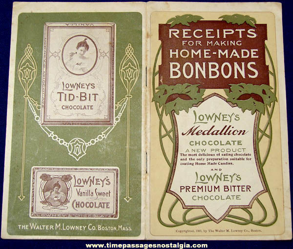 ©1903 Walter M. Lowney Candy Advertising Premium Recipe Booklet