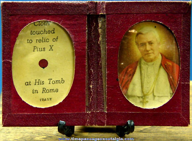Old Pope Pius X Religious Relic Card with Picture & Holder