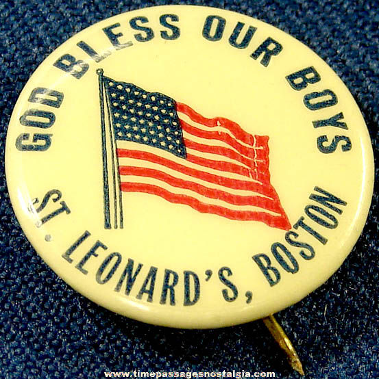 Old St. Leonards Church Boston Massachusetts American Flag Celluloid Pin Back Button