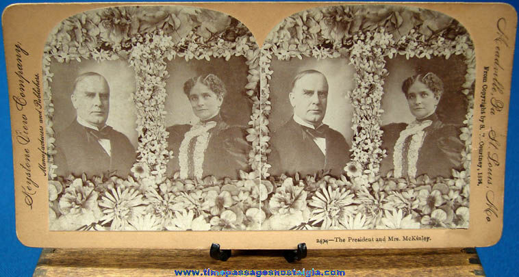 ©1896 U.S. President William McKinley & Mrs. McKinley Stereoview Photograph Card