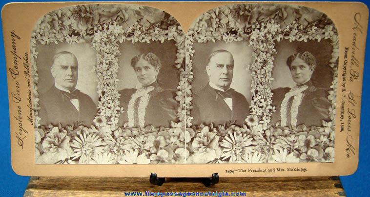 ©1896 U.S. President William McKinley & Mrs. McKinley Stereoview Photograph Card