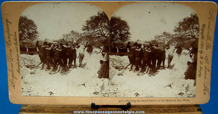 ©1898 U.S.S. Maine Navy Sailor Burial Stereoview Photograph Card