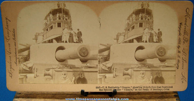 ©1898 U.S.S. Oregon Battleship Stereoview Photograph Card